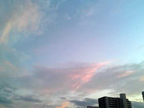 Pink, light blue evening sky